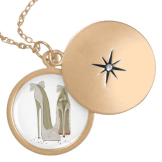 Wedding High Heels Art Round Locket Necklace