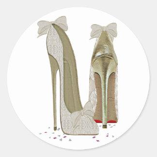 Wedding High Heels Art Round Sticker