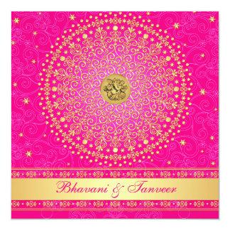 Wedding | Hindu | Ganesh | Pink, Gold | Scrolls 13 Cm X 13 Cm Square Invitation Card