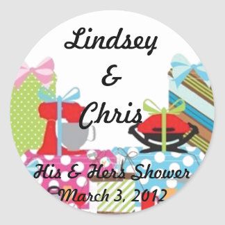 Wedding His & Hers Shower Sticker Personalized