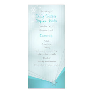 Wedding ice turquoise snowflake wedding program