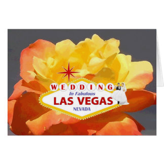 WEDDING IN FABULOUS LAS VEGAS ORANGE/YELLOW ROSE W GREETING CARD