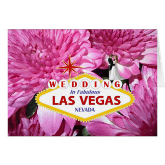 WEDDING IN FABULOUS LAS VEGAS PINK FLORAL WITH BRI GREETING CARD