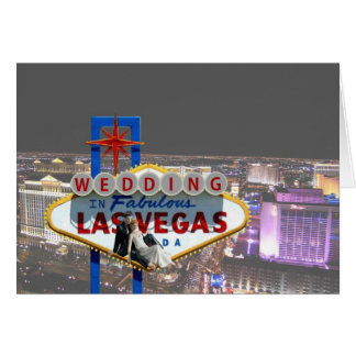 Wedding in Las Vegas Background View of the Strip  Greeting Card