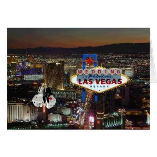 WEDDING In Las Vegas Bride & Groom floating on Dic Greeting Card