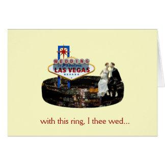 Wedding in Las Vegas Bride, Groom sitting on ring  Greeting Card