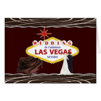 WEDDING In Las Vegas Chocolate Rose, Bride & Groom Greeting Card