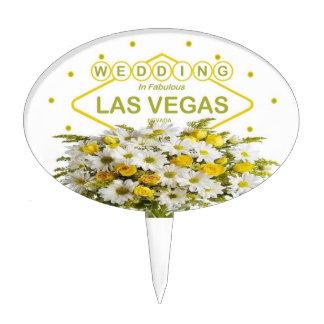 WEDDING In Las Vegas Oval Cakepick Cake Topper