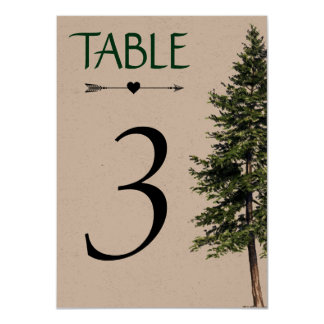 Wedding in the Woods Table Number Card