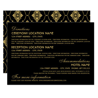 Wedding Information Card | Art Deco Elegant Style 11 Cm X 16 Cm Invitation Card