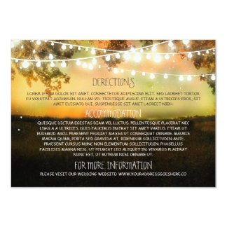 Wedding information cards with string lights 11 cm x 16 cm invitation card