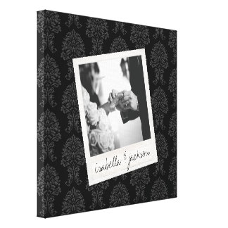 Wedding Instagram Photo Retro frame Custom Text Stretched Canvas Prints