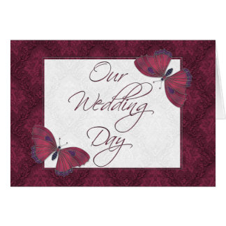Wedding Invitation 5X7  Butterfly Brocade Red Greeting Cards