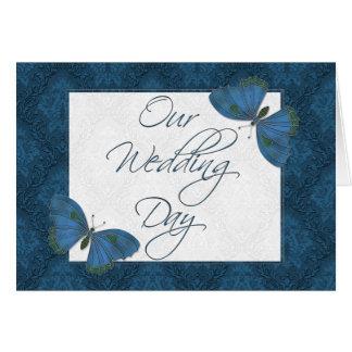 Wedding Invitation 5X7  Butterfly Brocade teal Greeting Card