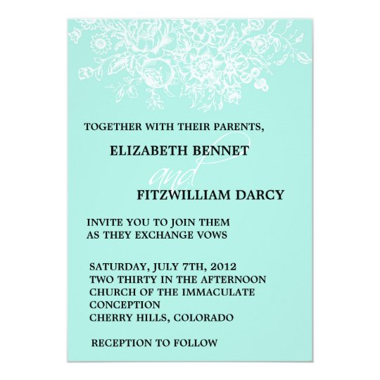 Wedding Invitation - Antique Flowers & Fonts Aqua