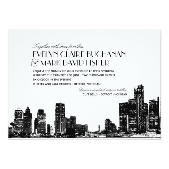 Wedding Invitation | Art Deco Detroit Skyline