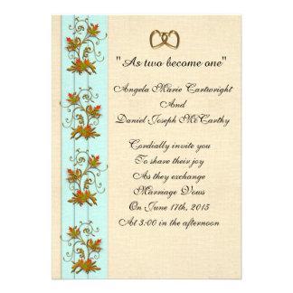 Wedding invitation Autumn leaves