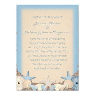Wedding Invitation Beautiful Tropical Beach Shells