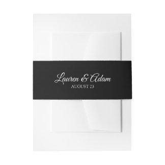 Wedding Invitation Belly Band / Wrap | Black