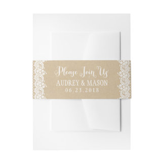 Wedding Invitation Bellyband Wrap | Lace and Kraft Invitation Belly Band