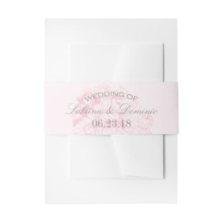 Wedding Invitation Bellyband Wrap | Pink Peony Invitation Belly Band