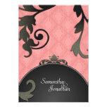 Wedding Invitation - Black & Coral Damask Floral
