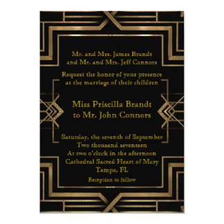 Wedding invitation black & gold, great-Gatsby