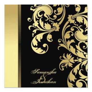 Wedding Invitation Black & Gold Shimmer Floral