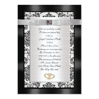 Wedding Invitation black white Damask