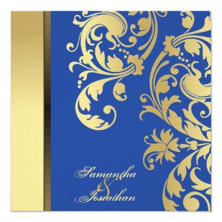 Wedding Invitation Blue Gold Shimmer Floral Swirls