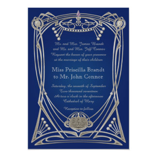 Wedding invitation blue-night & silver