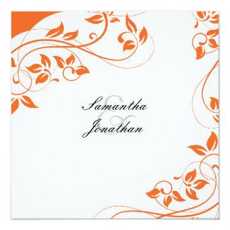 Wedding Invitation Bright Orange & White Floral