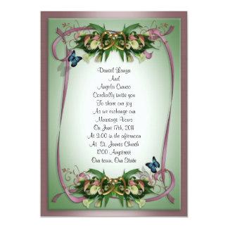 Wedding invitation Calla lilies and butterflies