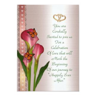 Wedding invitation calla lilies on Pink satin