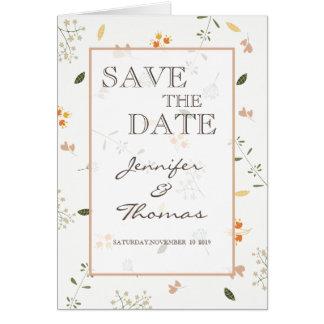 Wedding Invitation Card flowers minimalist.
