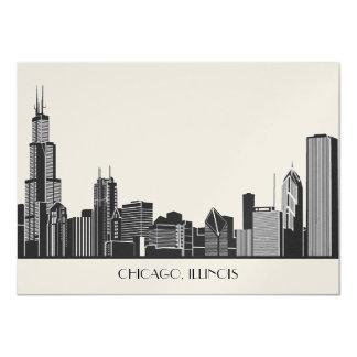 Wedding Invitation   Chicago City Skyline