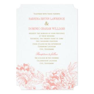 Wedding Invitation | Coral Floral Peony Design