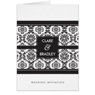 WEDDING INVITATION :: damask landscape black