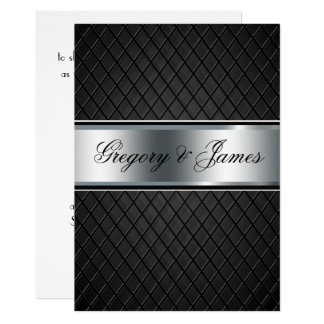 Wedding Invitation, Elegant Black and Silver Card