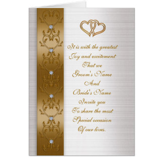 Wedding invitation elegant Gold border Greeting Card