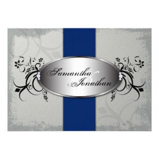 Wedding Invitation Elegant Gray Royal Blue Floral