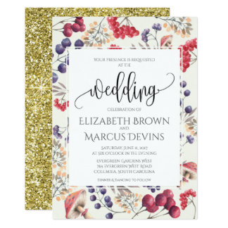 Wedding Invitation Floral Frame 5x7