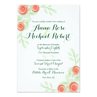 Wedding Invitation - Floral Rose Border - Bridal
