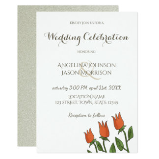 Wedding Invitation Floral Watercolor Spring White