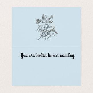 Wedding invitation ,fold card blue