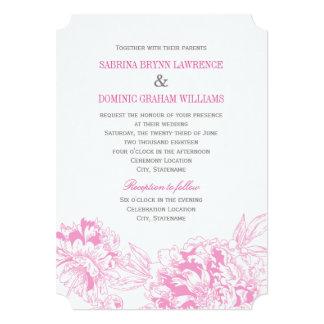 "Wedding Invitation | Fuchsia Floral Peony Design 5"" X 7"" Invitation Card"