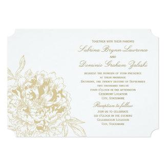 Wedding Invitation | Gold Floral Peony