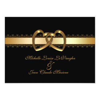 Wedding invitation gold hearts on black