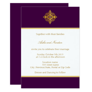 Wedding Invitation Gold & Purple