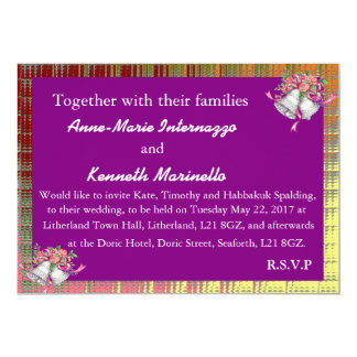 Wedding Invitation: Gold / Purple / White Card